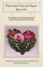 Victorian Cherub Heart Brooch - Pattern by Janet Stauffacher - Wired Ribbon