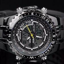 INFANTRY Herren Analog Digitaluhr Armbanduhr Uhr Herrenuhr LED Stoppuhr Schwarz