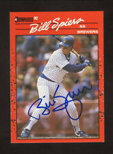 Billy Spiers Autograph--Milwaukee Brewers--1990 Donruss Baseball Card