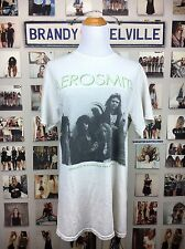 New! Brandy Melville Beige Distressed Cotton Aerosmith Band Tee Music Shirt NWT