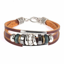 18k White Gold GP Classic Metal Leather Bracelet with Beads Brown SFgb06161029w