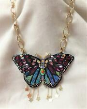 Betsey Johnson Butterfly Necklace Large Multi Color Crystals & Sparkle Necklace