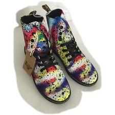 Doc Dr Martens Women's Hackney Boots Multi Psych Paint Splatter US Size 7