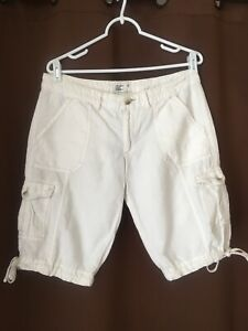 American Eagle Off White linen Blend Cargo Mid Rise shorts 8