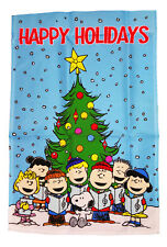 "PEANUTS SNOOPY AND THE GANG HAPPY HOLIDAYS FLAG~SIZE 12"" x 18""~NEW"