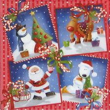 4x Paper Napkins for Decoupage Decopatch Craft Santa Friends