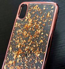 For Apple iPhone X - Hard TPU Rubber Gel Case Cover Rose Gold Chrome Foil Blings