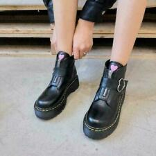 Womens Round Toe Buckle Strap Heart Sweet Shoes Creepers Ankle Boots Shoes GUYQ