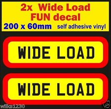 2 fun decal WIDE LOAD Panniers bike bmw car dub mini van ca soapbox cart Scooter