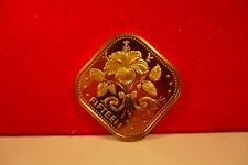 24k gold on proof 1976 Bahamas fifteen cents coin Hibiscus flower