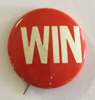 WIN Red & White Advertising Button Badge Pin Rare Vintage (R2)