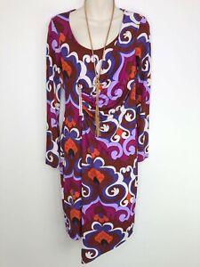 CHARLIE BROWN retro print long sleeve stretch dress size 10 front zipper detail