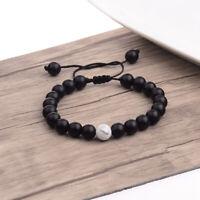 Fashion 8mm Natural Stone Matte Agate Hand braided rope Men Women Bracelets