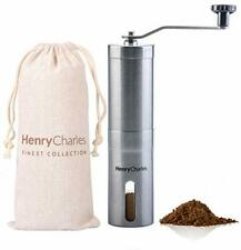 Henry Charles Manual Coffee Grinder, Stainless Steel, Compact, Portable