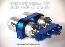 Doppel Benzinpumpenhalter mit Brücke für 2x Bosch 044 , blau, D6 Anschluss