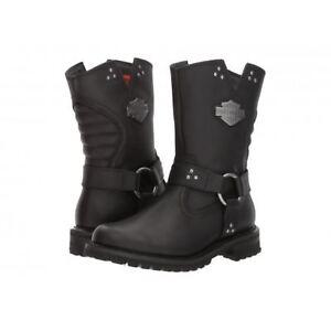 Harley Davidson Ladies Barford Black Leather Side Zip Biker Boots