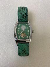 NICOLET Automatic Women`s Watch Swiss Made Green Snakeskin Oblong Skeleton