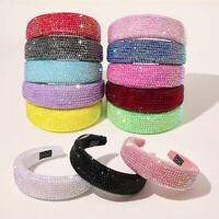 Baroque Rhinestones Padded Headbands Shiny Crystal Embellished Hairband Headwear
