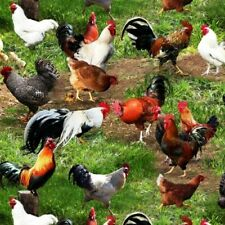 Farm Animals Chicken Hens Rooster Chicks in the Grass Cotton Fabric Fat Quarter