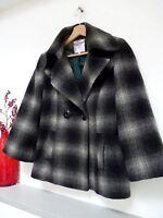 Ladies Lovely Debenhams Black/Grey Check Wool Mix DB Winter Coat Size 10, Vgc