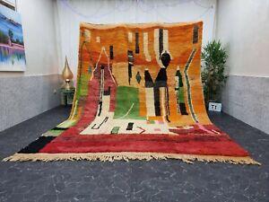 "Moroccan Large Boujaad Handmade Rug 8'3""x11'6"" Berber Abstract Orange Green Rug"