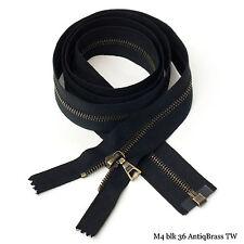 "RiRi Zipper m4, 1 Way Separating End Antique Brass, 2110, Twill tape, Flach, 36"""