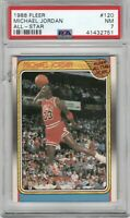 1988 Fleer #120 Micheal Jordan All-Star PSA 7 Near Mint Slam Dunk Champion READ