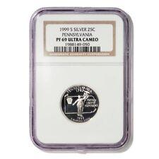 USA Pennsylvania State Quarter 1999 S Silver Proof NGC PF 69 Ultra Cameo