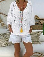 Lochstickerei Tunika Schlupfbluse Longshirt Weiß weit bequem 44 46 48 **Neu**