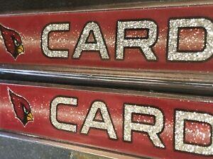 "1 Arizona Cardinals ""Glitter - Bling"" Metal Vehicle License Plate Frame"