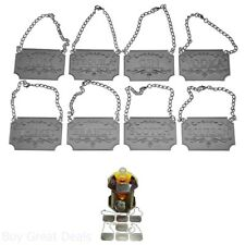 Liquor Decanter Tags Labels Eight Set Silver Copper Adjustable Chain Mettalic