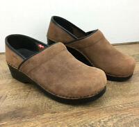 Sanita Brown Leather Danish Clogs Work Shoes Women's Slip-on Size 39 / 8-8.5 EUC