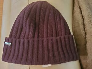 Coach Beanie, 100% Cashmere Maroon, Red, Lightly Used