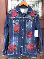 NWT LuLaRoe Unicorn Jaxon Women Size S Embroidered Red Roses Denim Jean Jacket