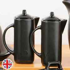 Oil And Vinegar Jars Set Black Text Ceramic Finish Kitchen Storage Pots New