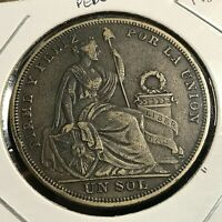 1923 PERU SILVER ONE SOL LARGE CROWN COIN