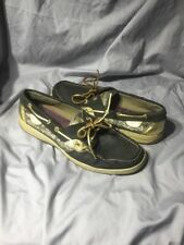 SPERRY TOP SIDER WOMENS SIZE US 11 M BLACK GOLD LEATHER 9288374 BOAT SHOES