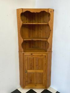 Country farmhouse style honey pine corner display cabinet wall unit - Delivery