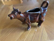 Vintage Brown Ceramic Cow Creamer, Gold Hooves Used