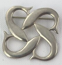 4 Fish School Figural Brooch Pin Sterling Silver .925 Spawn Celtic Signed