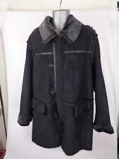 MENS NICKELSON LONDON BLACK FLEECE LINED ZIP UP BUTTON UP COAT JACKET L LARGE