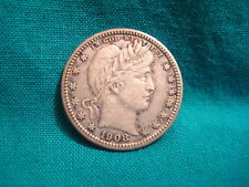 1908-D Barber 90% Silver 25c-High Grade-Full Strong Liberty-XF Details-#157