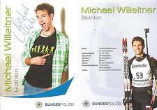 Autogramm AK Michael Willeitner Biathlon handsignierte Karte der Bundespolizei