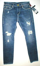 New Womens True Religion Brand Jeans Nu Boy Super T Blue White 24 NWT USA Ripped
