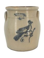 Antique AA & CW Underwood 2 Gallon Semi Ovid Stoneware Bird Animal Crock