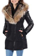 RUDSAK $945 Womens New 1222 Black Leather & Fur Puffer Casual Coat XS B+B