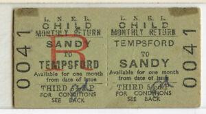 Railway Ticket  LNER  Tempsford to Sandy 1956