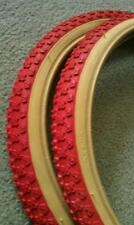 """2 NEW DURO BICYCLE TIRES BMX,20""""X1.75""""RED-GUMWALL  COMP 3 MX3 STYLE,CLEAN"""