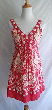 Anthropologie Yoana Baraschi 4 Pink Ikat Floral Button Trim Cotton Summer Dress