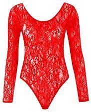 Womens Ladies Plus Size Mesh Insert Lace Leotard Bodysuit Body con Top 8 to 26